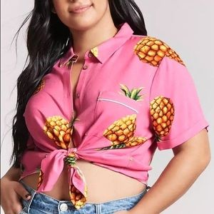 Forever 21 plus pineapple pink top size 2x